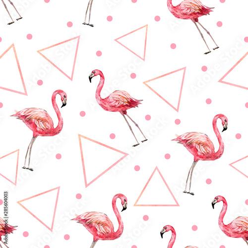 tropikalny-nastroj-akwarela-bezszwowe-psttern-abstrakcjonistyczna-ilustracja-z-flamingiem-i-ksztaltem-dla-tkaniny-lub-tapety