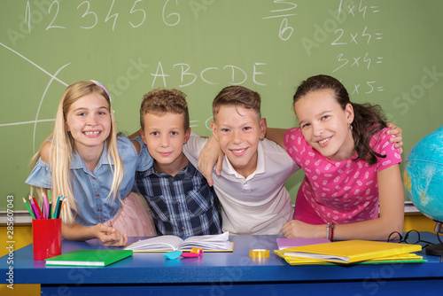 Fotografie, Tablou  Children in the classroom the first day of school