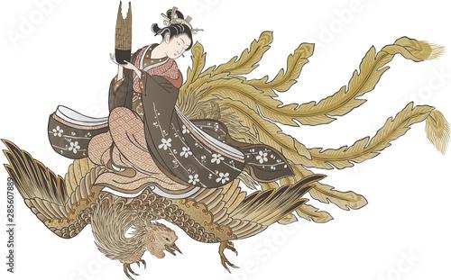 浮世絵 女性と不死鳥 その2 Tablou Canvas