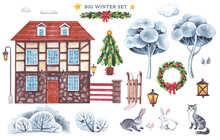 Large Watercolor Set With A House, Winter Trees, Bushes, A Fence, Christmas Decorations, Animals, Sledges, Lights On A White Background.