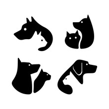 Set Of Dog And Cat Logo. Icon Design. Template Elements