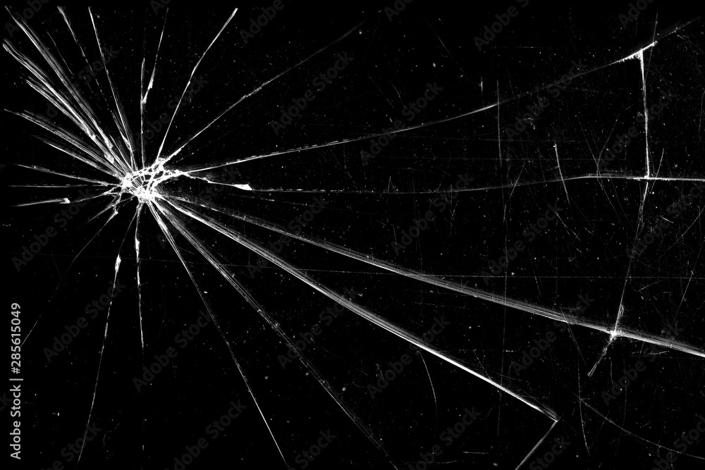 Fototapety, obrazy: cracked glass isolated on a black background. broken glass