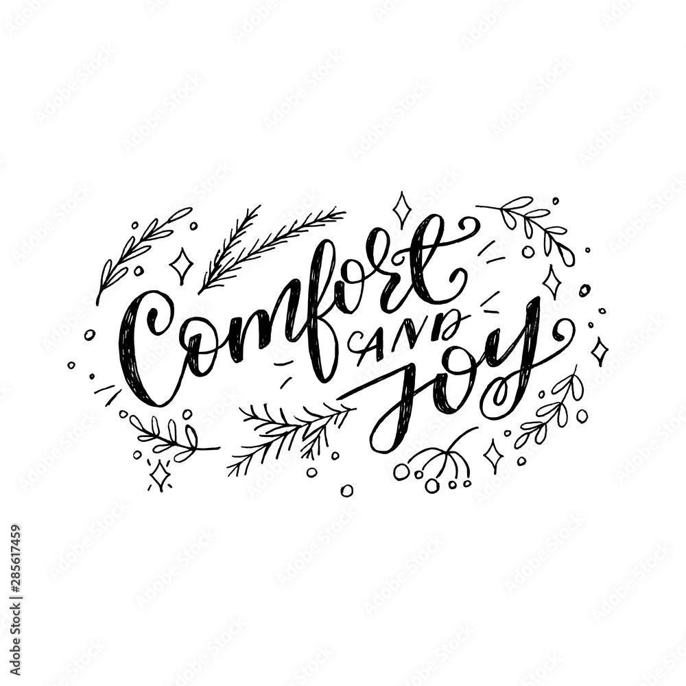 Fototapeta Comfort and joy christmas quote