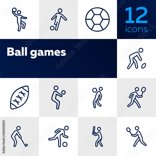 Fototapeta Ball games line icon set. Volleyball, football, soccer, rugby. Sport concept. Can be used for topics like sportsman, athlete, activity obraz na płótnie