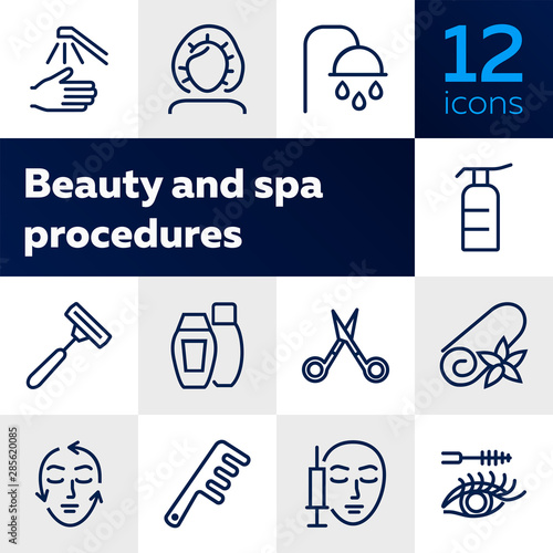 Fototapeta Beauty and spa procedures icons. Set of line icons on white background. Towel, face, syringe. Beauty salon concept. Vector illustration can be used for topics like spa, service, salon obraz na płótnie