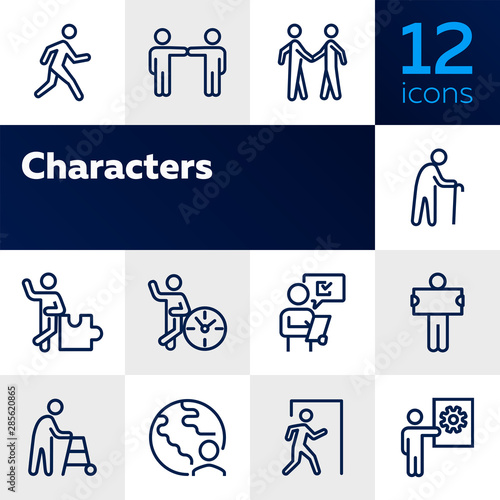 Fototapeta Characters line icon set. Old man, person, world. Sociality concept. Vector illustration can be used for topics like relations, working, communication obraz na płótnie