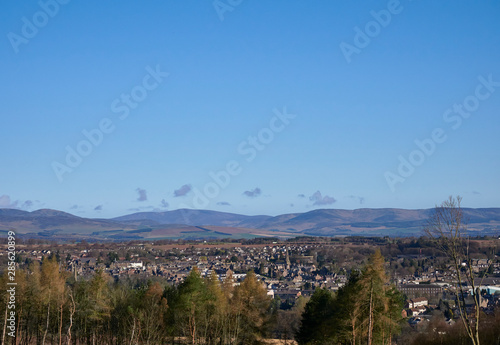 Photo A view of Brechin from the Valley side looking north to the Angus Glens on a bright Spring day in March