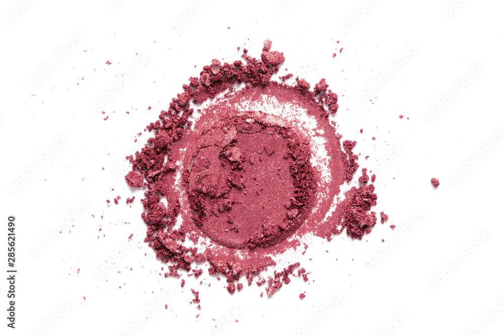 Valokuva Blush, eye shadow crushed swatch isolated on white background