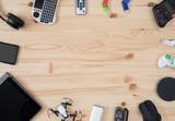 Fototapeta Sport - Top view Desk with technology gadgets