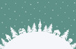 Christmas background. Winter village. Fairy tale winter landscape. There are white houses and fir trees on a turquoise background in the image. There is a place for text. Vector illustration