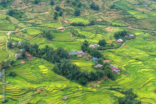 Staande foto Guilin Beautiful rice terrace field at SA PA is the famous place and travel destination located in Sa Pa Hoang Lien Son mountain range, Lao Cai Province, Vietnam