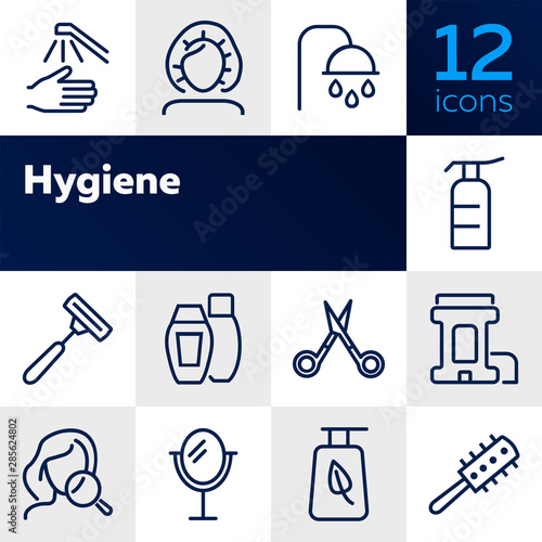 Fototapeta Hygiene line icon set. Shampoo, scissors, brush. Self care concept. Can be used for topics like shower, beauty care, makeup obraz na płótnie