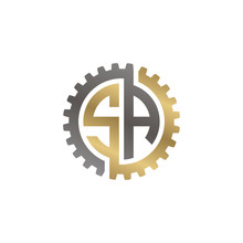 Initial Letter S And A, SA, Interlock Cogwheel Gear Logo, Black Gold On White Background