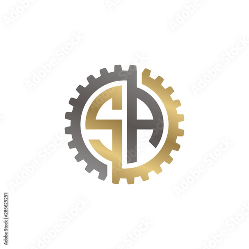 Fotografie, Obraz  Initial letter S and A, SA, interlock cogwheel gear logo, black gold on white ba