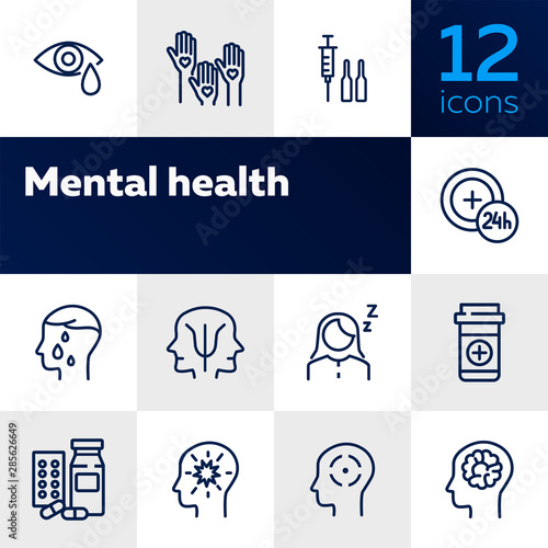 Fototapeta Mental health icon set. Psychology concept. Vector illustration can be used for topics like apothecary, pharmaceuticals, medicine obraz na płótnie