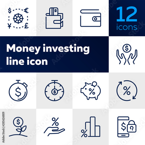 Fototapeta Money investing line icon set. Set of line icons on white background. Banking concept. Piggy bank, percent, purse. Vector illustration can be used for topics like investment, money, economy obraz na płótnie