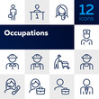 Occupations line icon set. Set of line icons on white background. Businessman, construction worker, doctor. Working concept. Vector illustration can be used for topics like career, professional growth