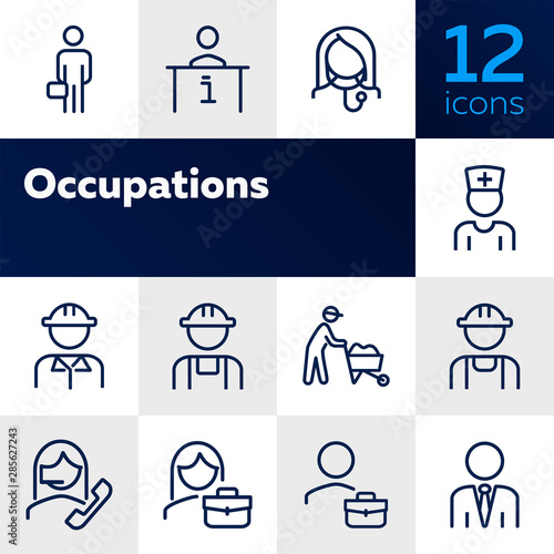 Fototapeta Occupations line icon set. Set of line icons on white background. Businessman, construction worker, doctor. Working concept. Vector illustration can be used for topics like career, professional growth obraz na płótnie
