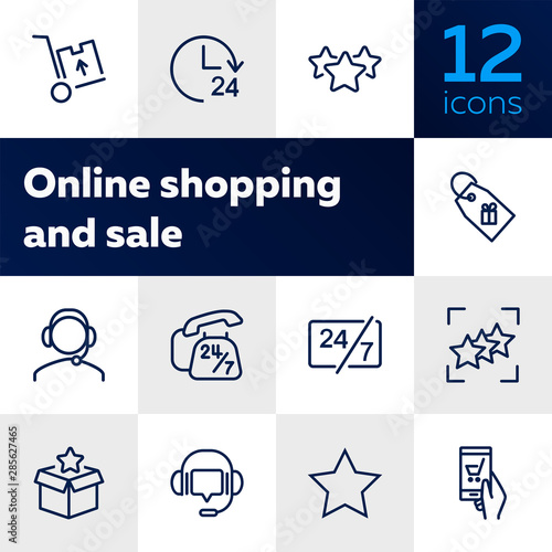 Fototapeta Online shop support icon set. Product delivery concept. Vector illustration can be used for topics like shopping, buying, online store obraz na płótnie