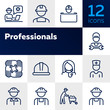 Professionals line icon set. Set off line icons on white background. Doctor, engineer, builder. Job concept. Vector illustration can be used for topics like career, sociality, business