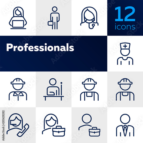 Fototapeta Professionals line icon set. Manager, doctor, engineer. Job concept. Can be used for topics like work, occupation, expertise obraz na płótnie