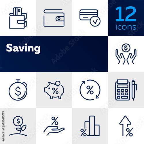 Fototapeta Saving line icon set. Salary, purse, graph, piggy bank. Money concept. Can be used for topics like budget, finance, banking, deposit, investment obraz na płótnie