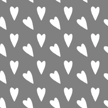 Watercolor Illustration Pattern Minimalistic Scandinavian Plain White Heart. Hand Drawn Isolated On A Light Gray Background.