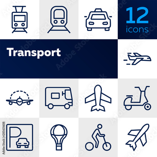 Fototapeta Transport line icon set. Set of line icons on white background. Airplane, bicycle, car. Travel concept. Vector illustration can be used for topics like tourism, active lifestyle obraz na płótnie