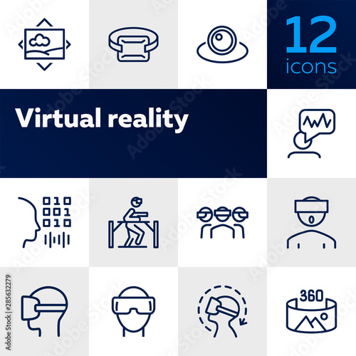 Fototapeta Virtual reality line icon set.Virtual reality glasses, programming, vr game. Technology concept.Vector illustration can be used for topics like progress, technology, entertainment obraz na płótnie