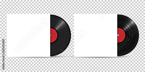 Cuadros en Lienzo  Vinyl Record with Cover Mockup, realistic style, set