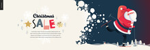 Skiing Santa Claus - Christmas Sale Web Banner - Modern Flat Vector Concept Illustration Of Cheerful Santa Claus Skiing With A Gift Bag On The Snow-covered Landscape, Stars And Snow Golden Elements