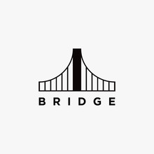Abstract Minimalist Bridge Logo Icon Vector Template On White Background