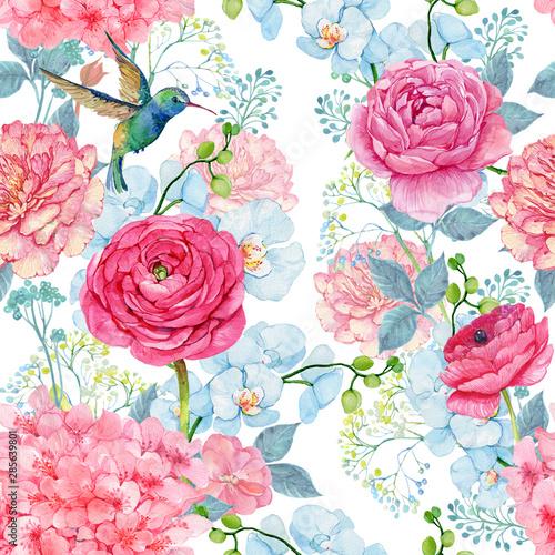 kwiaty-jaskier-i-ptak-koliber-bez-szwu