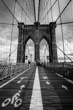 Brooklyn Bridge In New York Black & White