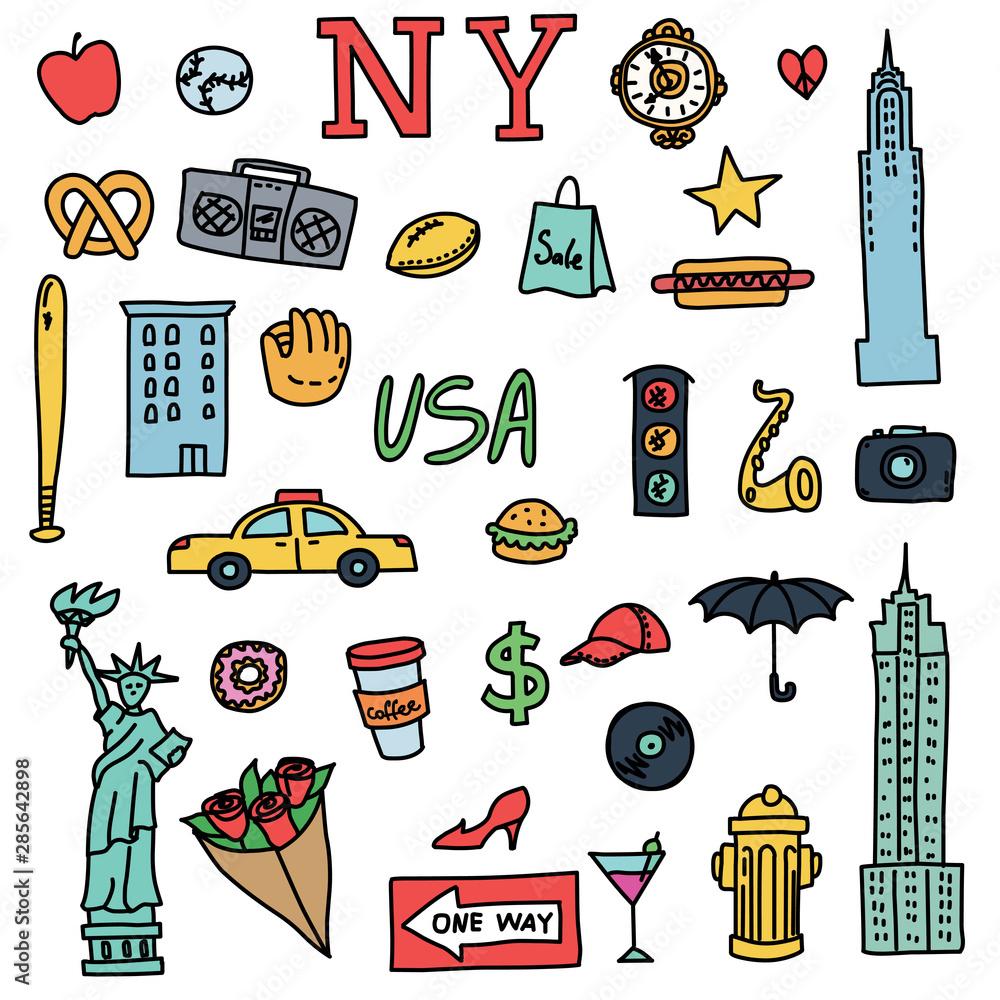 New York doodle line set. Hand drawn elements. American travel symbols. Vector pattern.