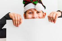 Teen Boy Wearing Santa Hat, Teenager Child Holding Empty Christmas Poster