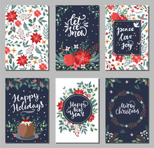 Set Of Merry Christmas Greeting Hand Drawn Lettering Cards In Traditional Colors,vertical Banners, Flyers,invitations. Happy New Year, Happy Holidays Cards With Christmas Florals And Winter Objects