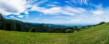 Germany, XXL Panorama Of German Black Forest Nature Landscape Perfect For Hiking At St Ulrich Near Freiburg Im Breisgau With Endless Forest Scenery