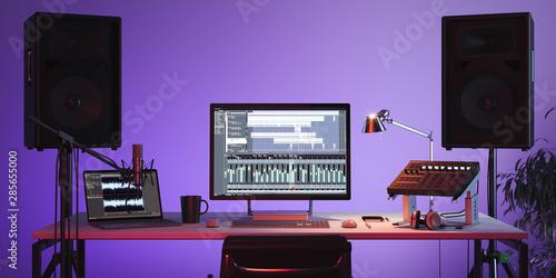 Studio Computer Music Station set up Canvas Print
