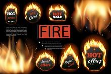 Realistic Hot Fire Labels Composition