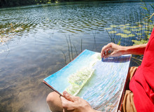 Teen Boy Sketching Summer Land...