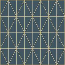 Abstract Metallic Wallpaper Navy Blue Gold Diamond Pattern