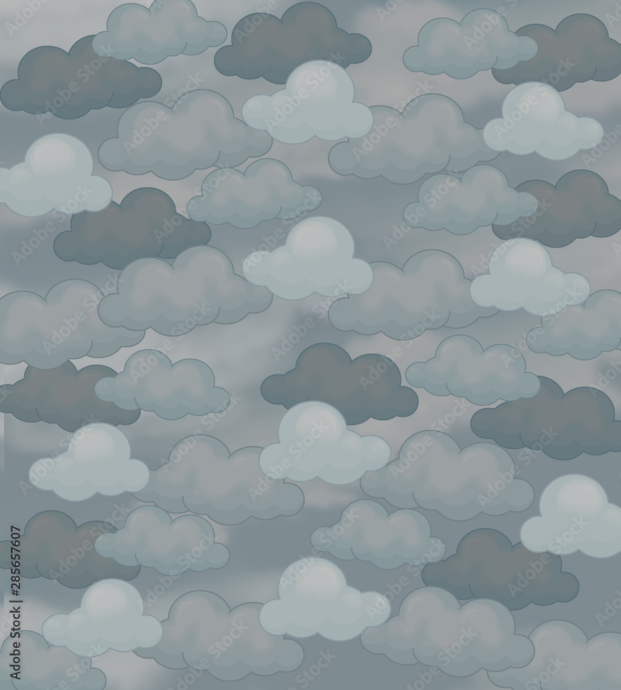cartoon scene with clouds for different usage illustration for children