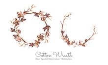 Cotton Wreath. Arrangement Of Cotton Boll, Pod, Shell, And Twig. Hand Painted Watercolour. Vector Illustration