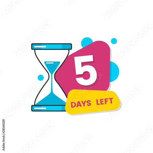 Fototapeta Flat isolated 5 days left sticker for limited offer expiration date