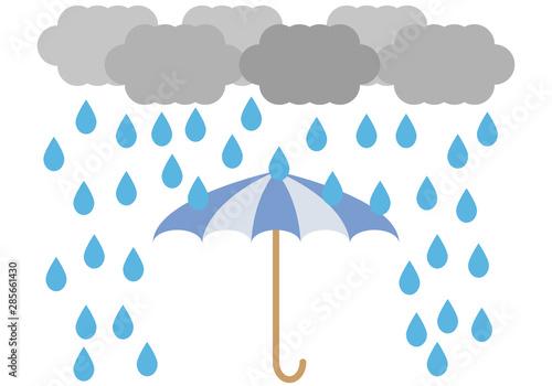 Photo Paraguas azul para tiempo de lluvia en otoño e invierno.