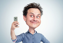 Comical Cartoon Of A Funny Smiling Man In Shirt Who Takes Selfie On Smartphone