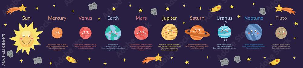 Fototapeta Cartoon planets of solar system educational banner flat vector illustration.