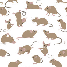 Mice Seamless Pattern. Mouse Yoga Poses And Exercises. Cute Cartoon Clipart Set