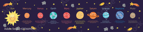 Fototapeta Cartoon planets of solar system educational banner flat vector illustration. obraz